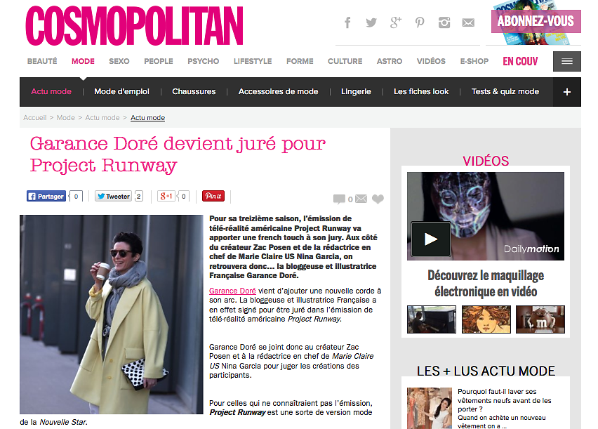 COSMOPOLITAN (web) 18th/08/2015 : picture of Garance Dore