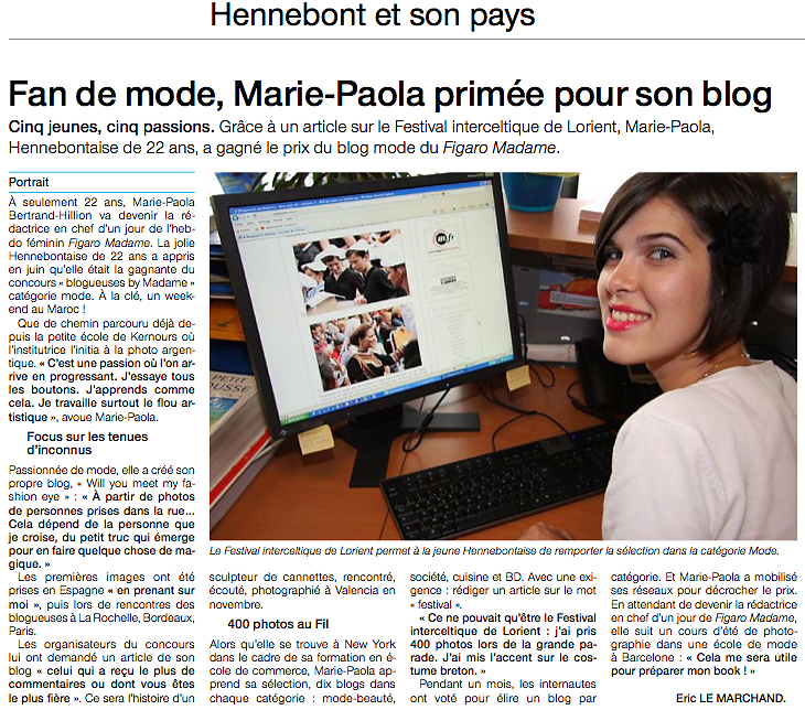 OUEST FRANCE (print) 08/2011 : interview