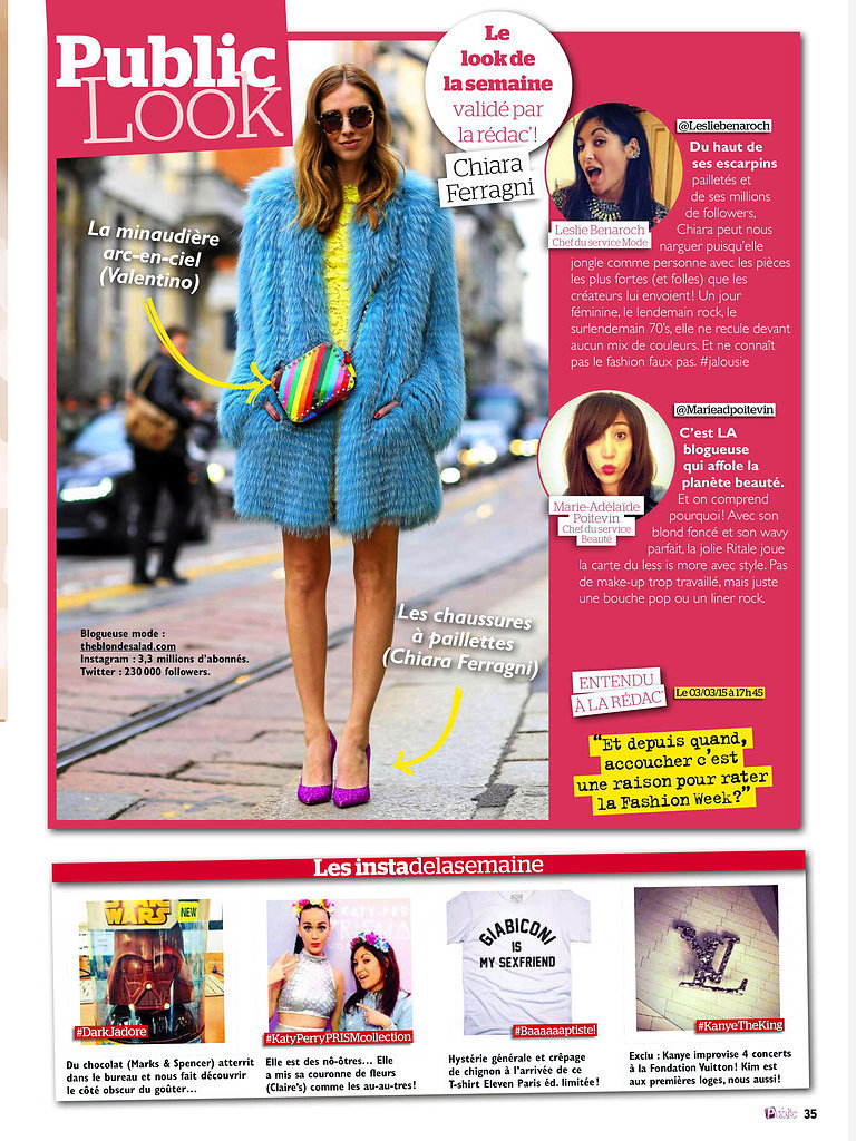 PUBLIC (print) 13th/03/2015: pic of Chiara Ferragni