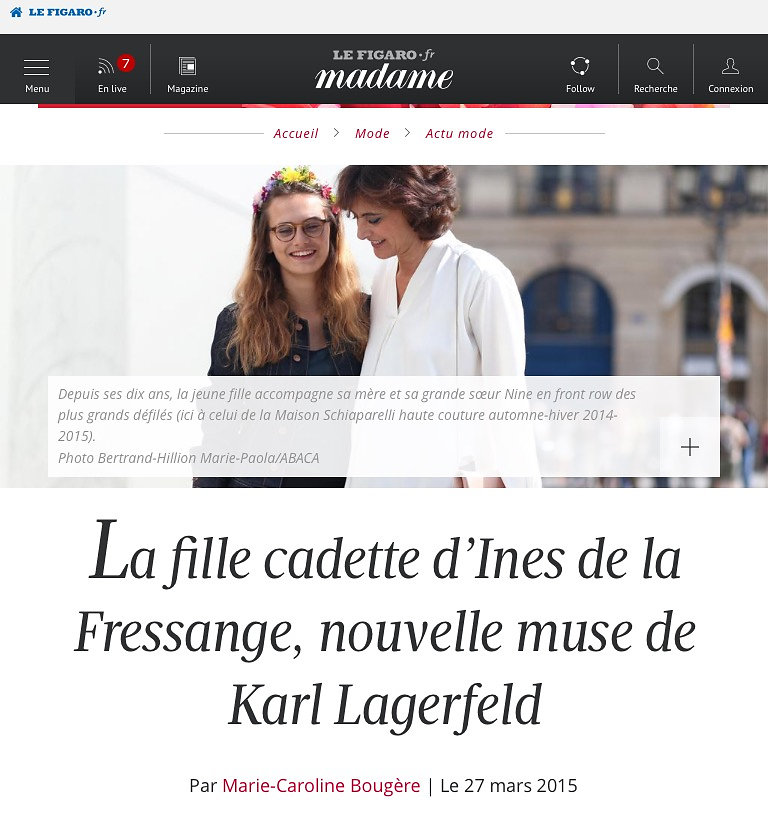 MADAME FIGARO (web) 27th/03/2015: pic of Violette d'Urso and Ines de la Fressange