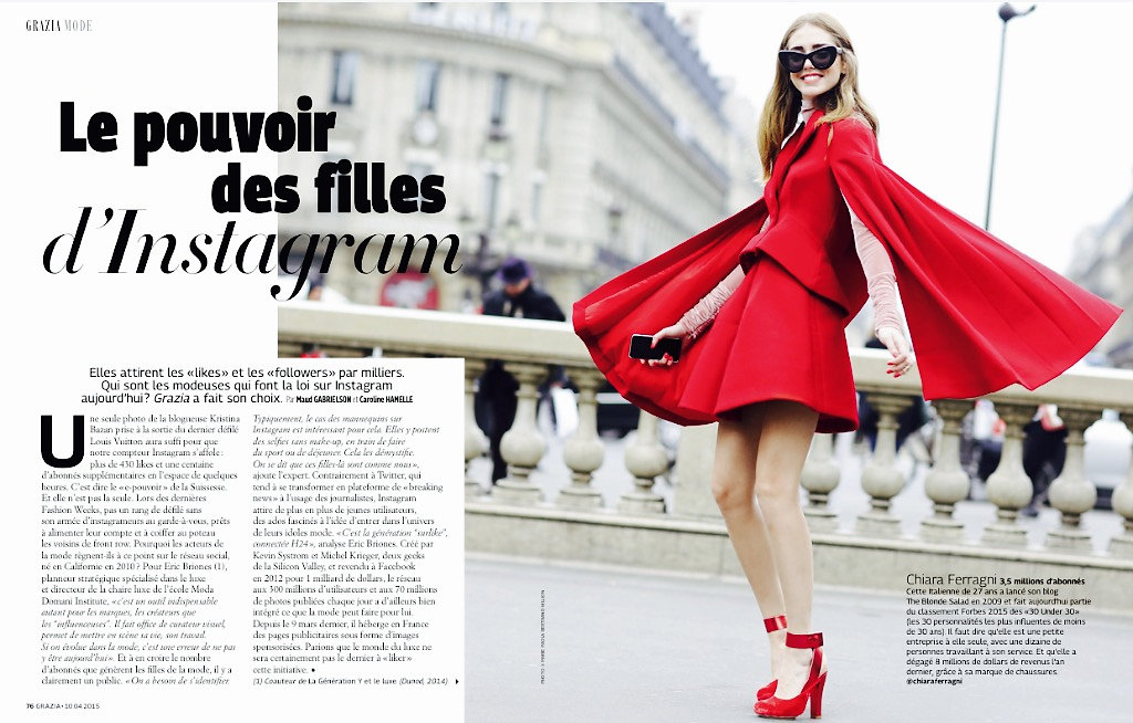 GRAZIA France (print) 10th/04/2015: pic of Chiara Ferragni