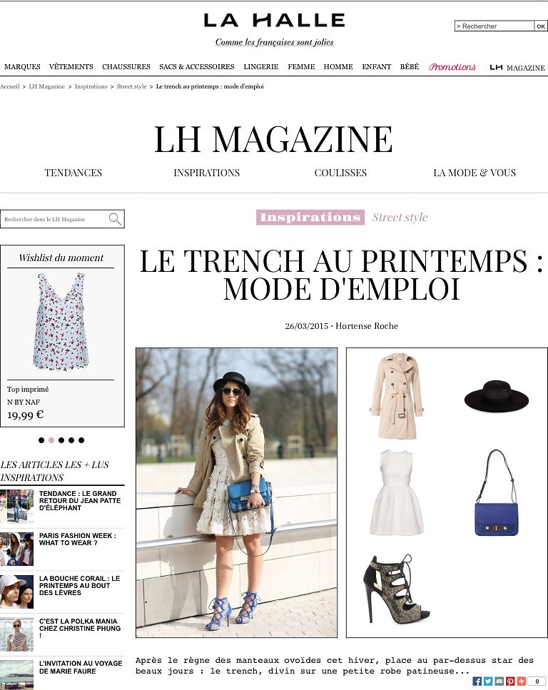 LA HALLE MAGAZINE (web) 26th/03/2015: pic of Tamara Kalinic