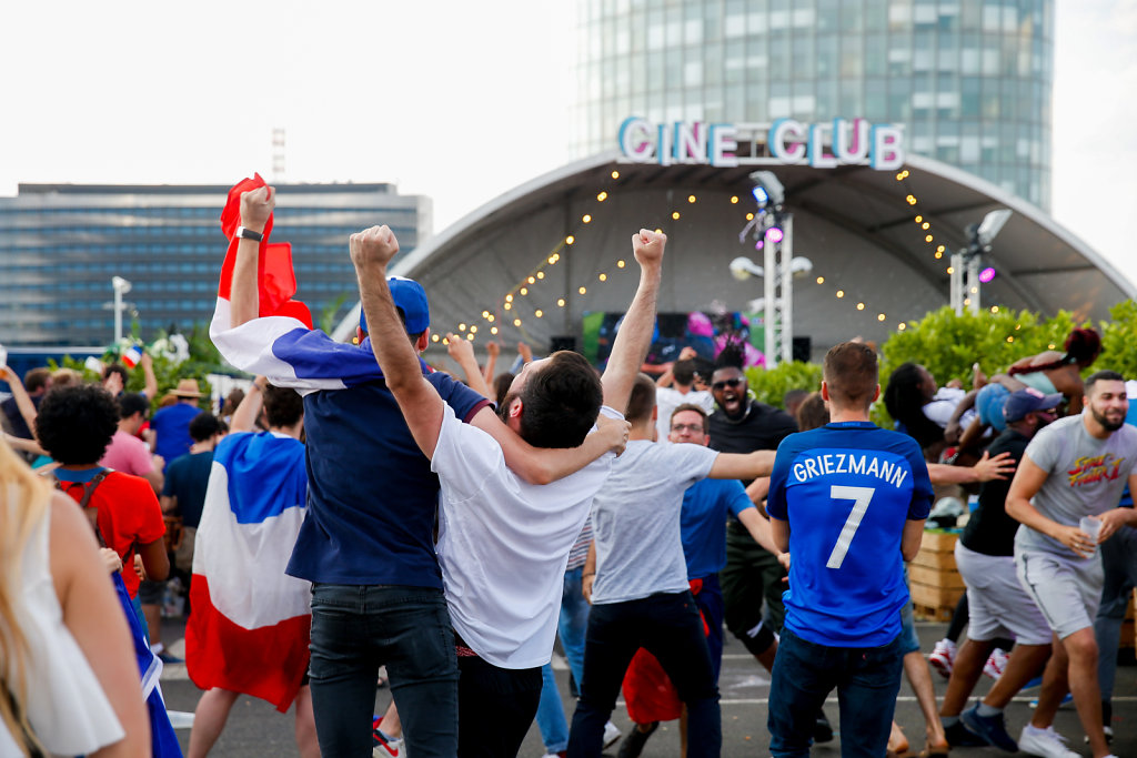 French supporters in Paris after victory of France at FIFA World Cup 2018